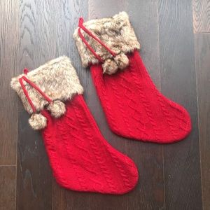 Red & Fur Trim Christmas Stockings